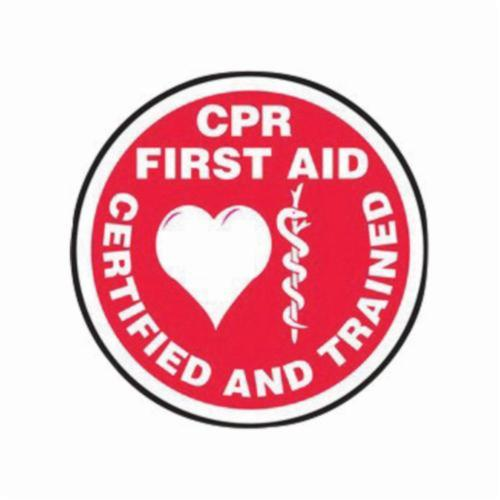 Accuform® LHTL348 Hard Hat Sticker, 2-1/4 in L x 2-1/4 in W, CPR FIRST AID CERTIFIED AND TRAINED, Red/White, Vinyl