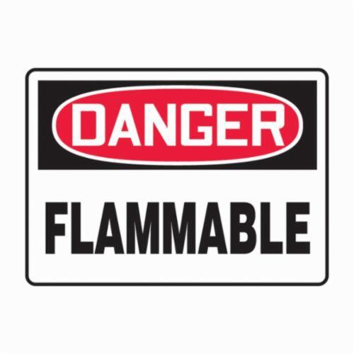 Accuform® MCHL231VP Rectangle Safety Sign, DANGER, Text, FLAMMABLE, Plastic, 10 in H x 14 in W, English