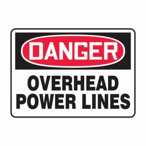 Accuform® MELC054VA Danger Sign, DANGER, 10 in H x 14 in W, Red/Black on White, Aluminum, Through Hole Mount