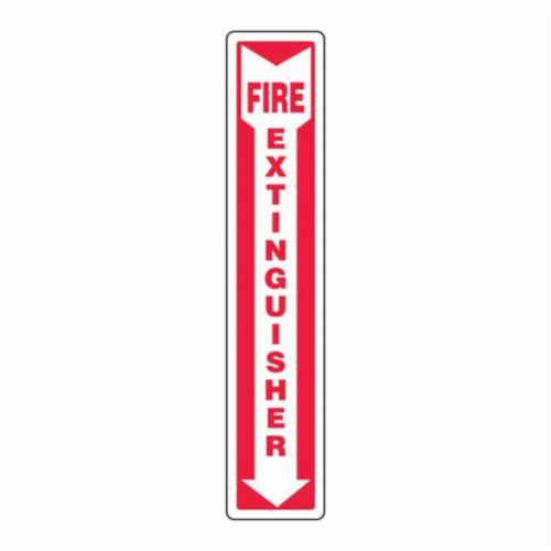 Accuform® MFXG545VP Moisture-Resistant Fire Extinguisher Sign, No Header, 18 in H x 4 in W, White/Red, Plastic, Surface Mounting