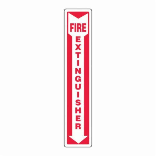 Accuform® MFXG918VS Moisture-Resistant Fire Extinguisher Sign, 24 in H x 4 in W, White/Red, Adhesive Vinyl, Surface Mounting