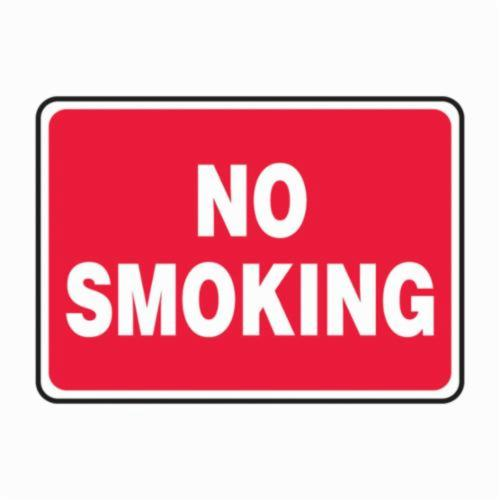 Accuform® MSMK570VP Semi-Flexible No Smoking Sign, No Header, 10 in H x 14 in W, White/Red, Plastic
