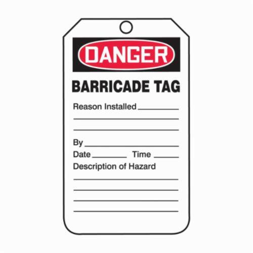 Accuform® TAB104PTP Safety Tag, 5-3/4 in H x 3-1/4 in W, Black/White, 3/8 in Hole, RP-Plastic