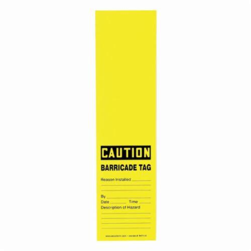 Accuform® TAT112 Wrap 'n Stick™ Safety Tag, 12 in H x 3-1/8 in W, Black/Yellow, Adhesive Vinyl