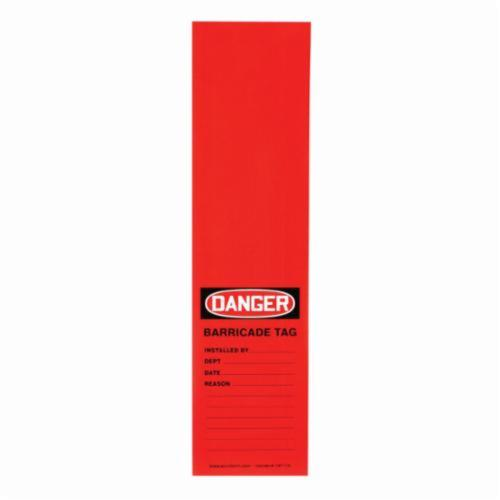 Accuform® TAT116 Wrap 'n Stick™ Safety Tag, 12 in H x 3-1/8 in W, Black/Red/White, Adhesive Vinyl