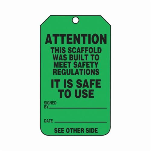 Accuform® TRS328CTP Scaffold Status Tag, 5-3/4 in H x 3-1/4 in W, Black/Green, 3/8 in Hole, PF-Cardstock