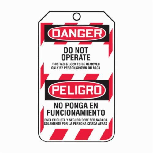 Accuform® TSP101CTP Bilingual Lockout Tag, 5-3/4 in H x 3-1/4 in W, Black/Red/White, 3/8 in Hole, PF-Cardstock