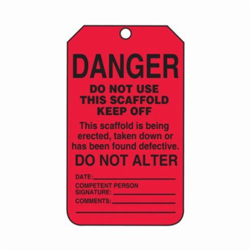 Accuform® TSS101PTP Scaffold Status Safety Tag, 5-3/4 in H x 3-1/4 in W, Black/Red, 3/8 in Hole, RP-Plastic