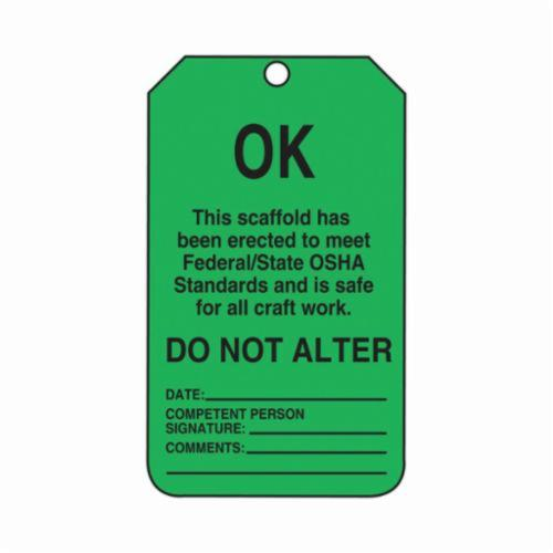 Accuform® TSS103CTP Scaffold Status Safety Tag, 5-3/4 in H x 3-1/4 in W, Black/Green, 3/8 in Hole, PF-Cardstock