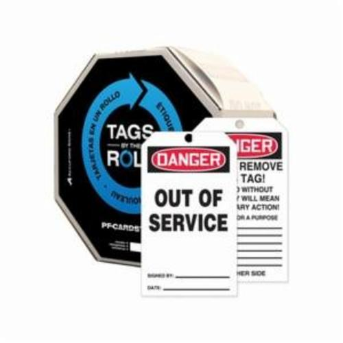 Accuform® TAR148 Tags By-The-Roll™ Danger Tag, 6-1/4 in H x 3 in W, Black/White, 3/8 in Hole, Cardstock
