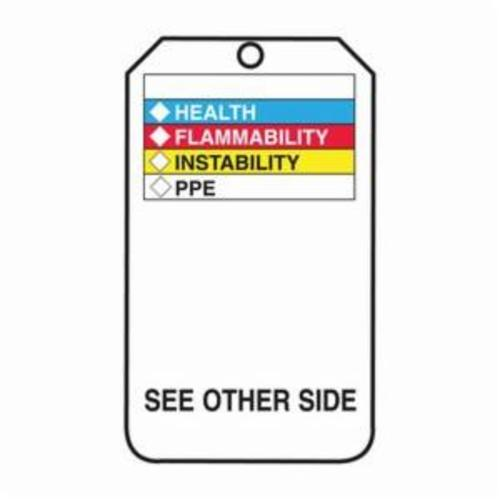 Accuform® THS601PTP Hazardous Material Tag, 5-3/4 in H x 3-1/4 in W, Black/Blue/Red/Yellow/Green/White, 3/8 in Hole, Plastic