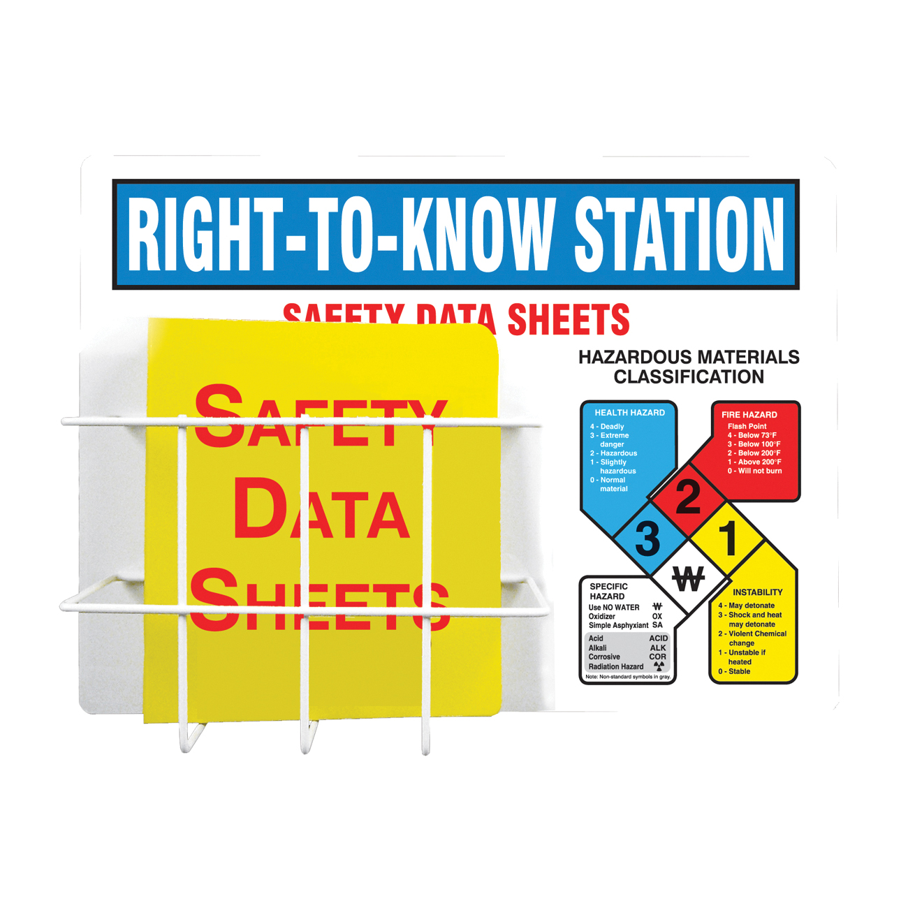 Accuform® ZRS347 RTK-NFPA Center Board Kit, RIGHT TO KNOW STATION Legend, English, 18 in H x 24 in W, Aluminum, Wall Mount