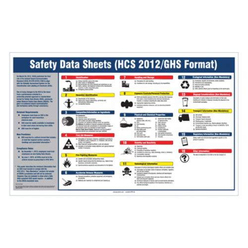 Accuform® ZTP133 Laminated Right-to-Know SDS Poster, SAFETY DATA SHEETS (HCS 2012/GHS FORMAT), Plastic, 20 in H x 32 in W, English
