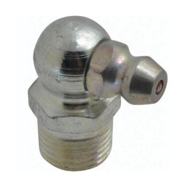 Alemite® 1613-B Lubrication Fitting, 1/8-27 PTF Thread, 27/32 in OAL, 19/64 in L Shank, Steel, Trivalent Zinc Plated