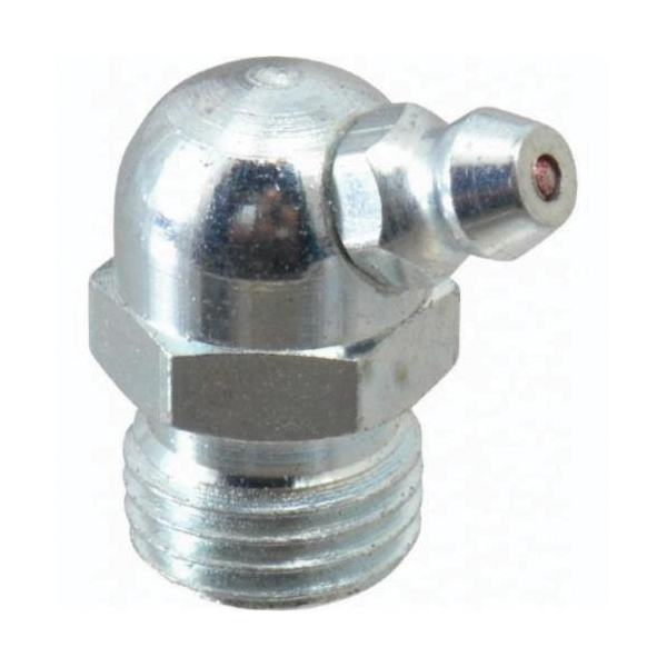 Alemite® 1629-B Lubrication Fitting, 1/4-18 PTF Thread, 31/32 in OAL, 11/32 in L Shank, Steel, Trivalent Zinc Plated