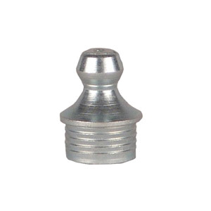 Alemite® 1666 Straight Drive Fitting, 37/64 in OAL, 7/32 in L Shank, Steel, Trivalent Zinc Plated