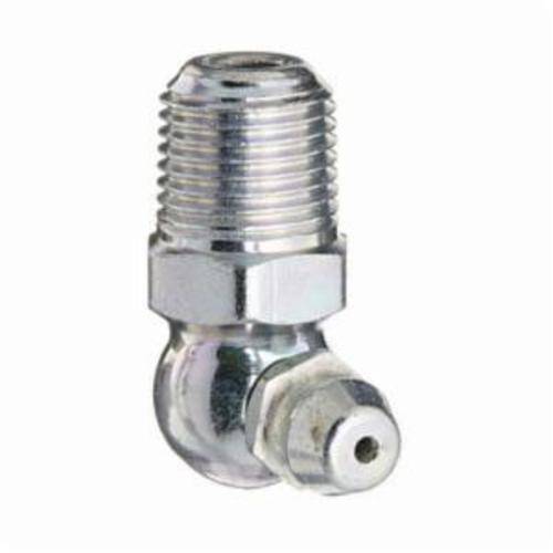 Alemite® 1693 90 deg Leakproof Grease Fitting, 1/8 in Male NPTF Thread, 31/32 in OAL, 25/64 in L Shank, Steel, Zinc Plated