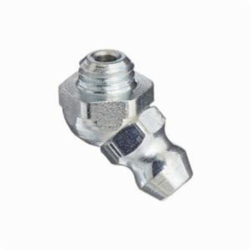 Alemite® 1770-B1 45 deg Thread Forming Grease Fitting Zerk, 1/4-28 UNF-2A Male Thread, 39/64 in OAL, 1/8 in L Shank, Metal, Trivalent Zinc Plated