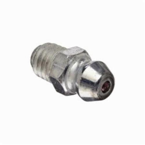 Alemite® 2106 Straight Grease Fitting Zerk, M6x1 Male Taper Thread, 19/32 in OAL, 1/4 in L Shank, Steel, Trivalent Zinc Plated