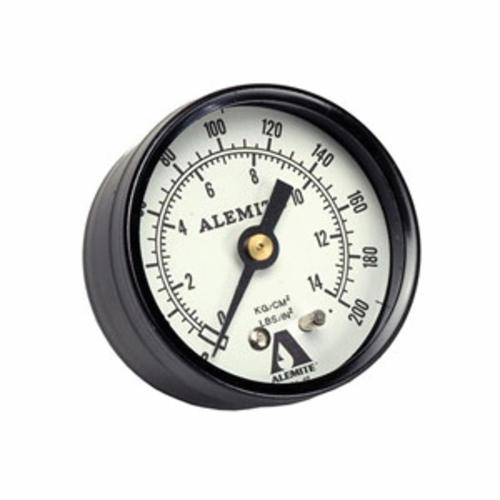 Alemite® 323449-4 Dry Standard Duty Air Pressure Gauge, 0 to 200 psi Pressure, 1/4 in FNPT Connection, 2-1/16 in Dia Dial