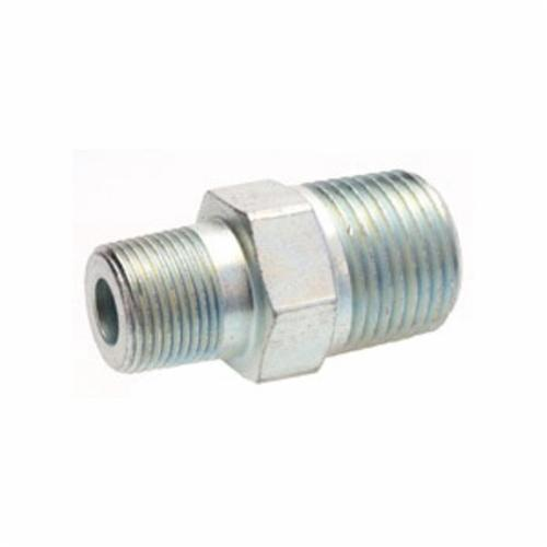 Alemite® 44734 Straight Hydraulic Adapter, 3/8 in Male NPTF x 1/2-27 Male Taper Thread