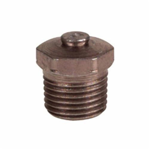 Alemite® 47100 Special Short Threaded Relief Fitting, 1/8 in PTF SAE, 45 psi Minimum Relief, 80 psi Maximum Relief, Steel, Trivalent Zinc Plated