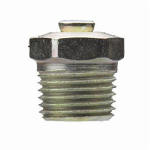 Alemite® 47200 Relief Fitting, 1/8 in PTF Thread, 1/2 in OAL, 19/64 in L Shank, Steel, Zinc Plated