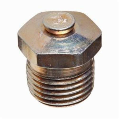 Alemite® 47640 Straight Top Vent Pressure Relief Fitting, 1/8 in PTF SAE Special Short Thread, 1/2 in OAL, 19/64 in L Shank, Carbon Steel, Zinc Clear