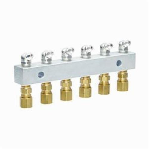 Alemite® 6136 6-Point Grease Fitting Header Block, 1/8 in Female NPTF Thread, 5-3/4 in OAL, Brass/Galvanized Steel/Stainless Steel