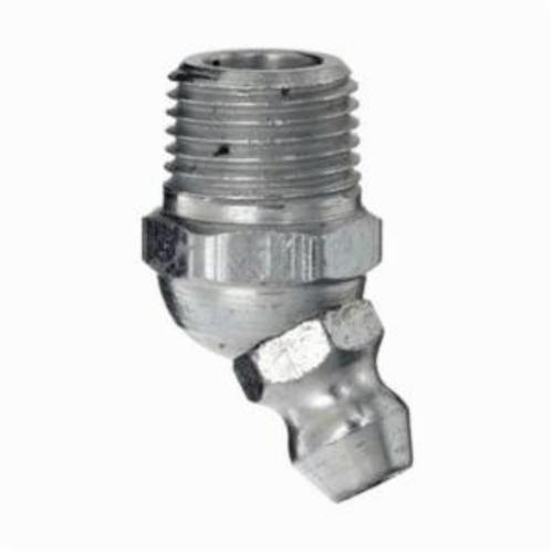 Alemite® B1637-B1 45 deg Grease Fitting, 1/4-28 Male Taper Thread, 13/16 in OAL, 13/64 in L Shank, Trivalent Zinc Plated