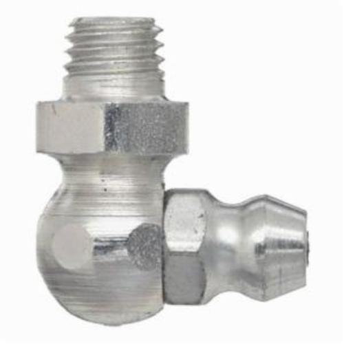Alemite® B1911-B1 90 deg Standard Grease Fitting, 1/4-28 Male Taper Thread, 3/4 in OAL, 13/64 in L Shank, Trivalent Zinc Plated