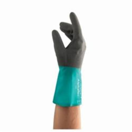 AlphaTec® 58-530B Medium Duty Chemical Resistant Gloves, Acrylic, Anthracite Gray Dip/Sea Green, Acrylic Lining, 12 in L, Resists: Abrasions and Cut, Supported Support, Gauntlet Cuff, 13 mil THK