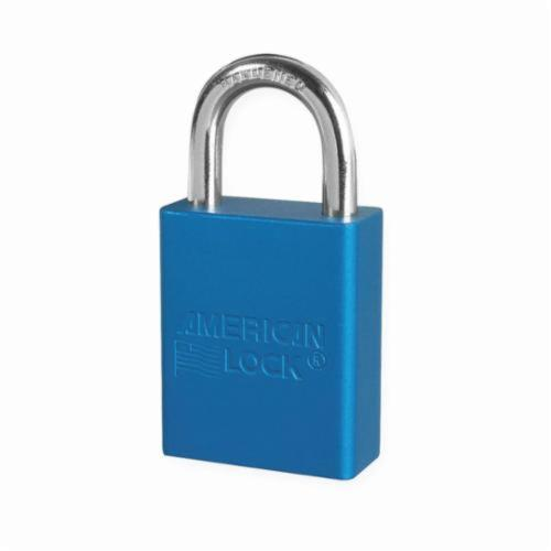 American Lock® A1105BLU Safety Padlock, Keyed Different Key, Blue, Anodized Aluminum Body, 1/4 in Dia x 1 in H x 25/32 in W Chrome Plated Boron Alloy Steel Shackle, Conductive Conductivity