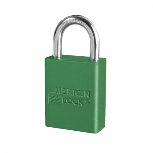 American Lock® A1105GRN Safety Padlock, Different Key, Green, Anodized Aluminum Body, 1/4 in Dia x 1 in H x 25/32 in W Polished Chrome Boron Alloy Steel Shackle, Conductive Conductivity