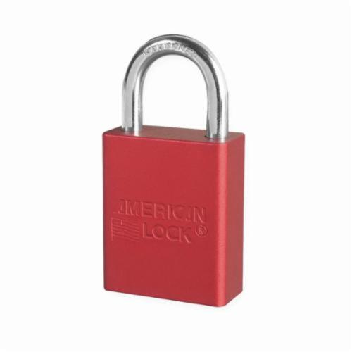 American Lock® A1105RED Safety Padlock, Keyed Different Key, Red, Anodized Aluminum Body, 1/4 in Dia x 1 in H x 25/32 in W Chrome Plated Boron Alloy Steel Shackle, Conductive Conductivity