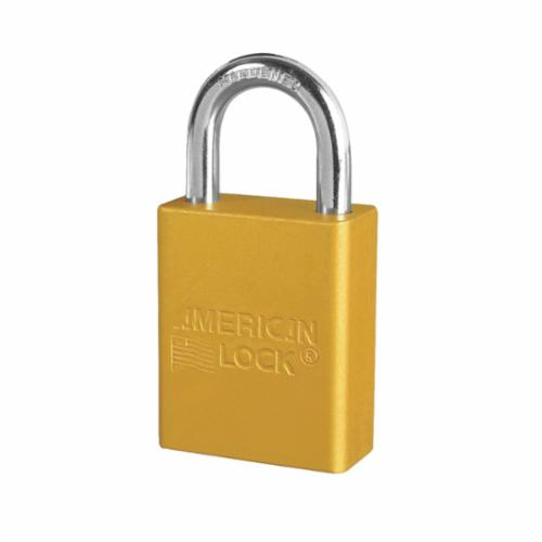 American Lock® A1105YLW Safety Padlock, Different Key, Yellow, Anodized Aluminum Body, 1/4 in Dia x 1 in H x 25/32 in W Polished Chrome Boron Alloy Steel Shackle, Conductive Conductivity