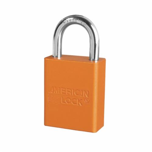 American Lock® A1105ORJ Safety Padlock, Different Key, Orange, Anodized Aluminum Body, 1/4 in Dia x 1 in H x 25/32 in W Polished Chrome Boron Alloy Steel Shackle, Conductive Conductivity