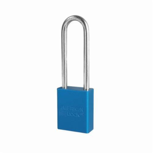 American Lock® A1107BLU Safety Padlock, Different Key, Blue, Anodized Aluminum Body, 1/4 in Dia x 3 in H x 25/32 in W Polished Chrome Boron Alloy Steel Shackle, Conductive Conductivity