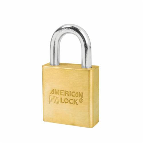 American Lock® A5560 Rekeyable Safety Padlock, Keyed Different Key, 5/16 in Shackle, Solid Brass Body, Brass, Dual Ball Bearing/5-Pin Tumbler Cylindrical Locking