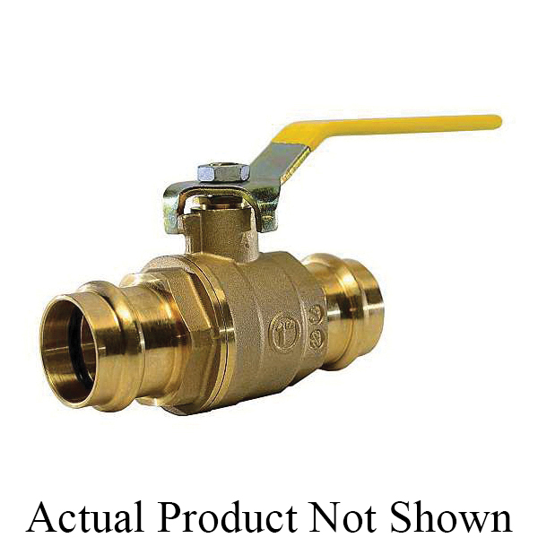 "American Valve® G111 1 1/4"" 2-Piece Ball Valve, 1-1/4 in Nominal, Press End Style, Brass Body, Full Port, EPDM/PTFE Softgoods, Import"