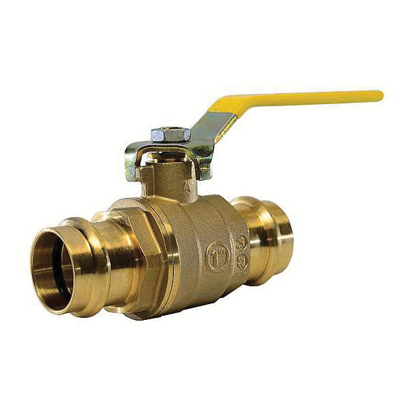 """American Valve® G111 1"""" 2-Piece Ball Valve, 1 in Nominal, Press End Style, Brass Body, Full Port, EPDM/PTFE Softgoods, Import"""