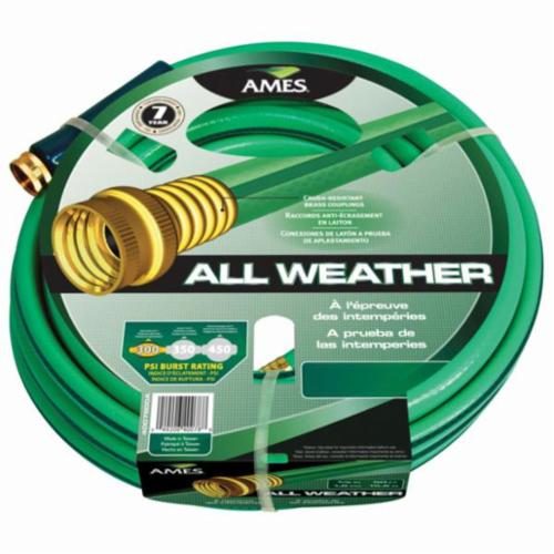 Ames® 4008000A All-Purpose Garden Hose, 5/8 in Nominal, 100 ft L, Brass/PVC