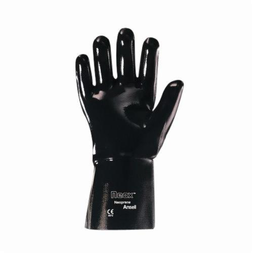 Ansell 213321 9-928 Chemical-Resistant Gloves, SZ 10, Neoprene, Black, Fleece/Jersey Lining, 18 in L, Resists: Puncture, Snag and Solvent, Gauntlet Cuff
