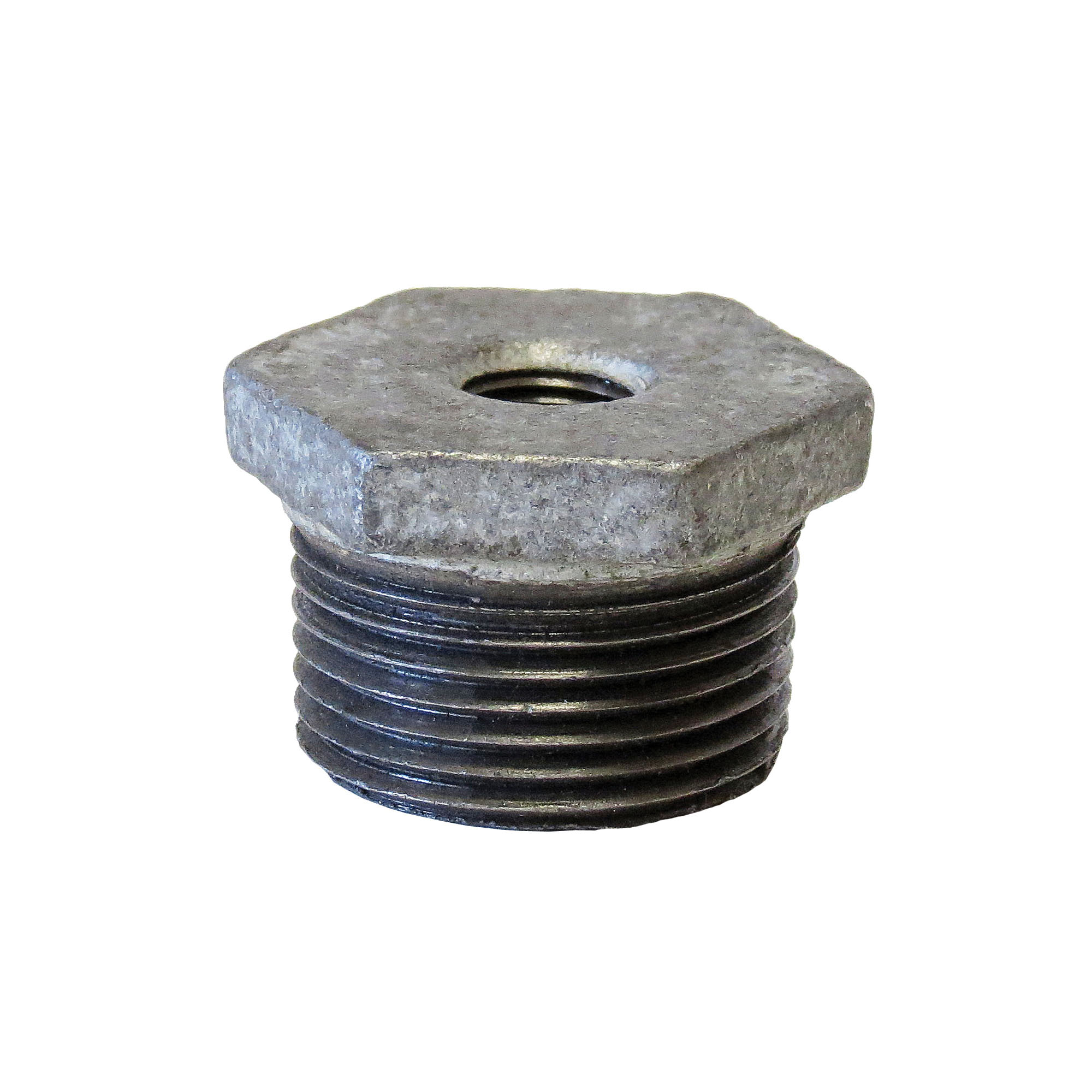 Anvil® 0319907804 FIG 383 Hex Head Pipe Bushing, 2 x 3/4 in, FNPT x MNPT, 150 lb, Cast Iron, Galvanized, Domestic