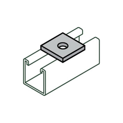 Anvil-Strut™ 2400208902 FIG AS 619 1-Hole Square Washer, 1/4 in Nominal, 1/4 in ID, 1/4 in THK, Carbon Steel