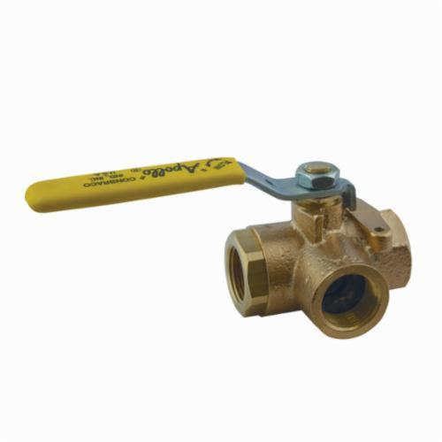 Apollo™ 70-603-01 70-600 3-Way Ball Valve, 1/2 in, FNPT, Bronze Body, Standard Port, MPTFE/PTFE Softgoods
