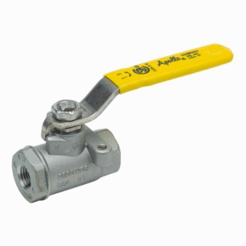 Apollo™ 76-101-01-A 76-100 2-Piece Ball Valve, 1/4 in, FNPT, Stainless Steel Body, Standard Port, MPTFE/PTFE Softgoods, Domestic