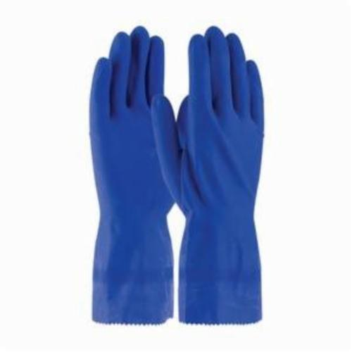 Assurance® 47161B Chemical Resistant Gloves, Natural Rubber Latex, Blue, Unlined Lining, 12 in L, Resists: Snag and Tear, Unsupported Support, Rolled Cuff, 16 mil THK