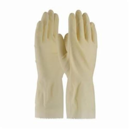 Assurance® 47161N Chemical Resistant Gloves, Natural Rubber Latex, Natural, Unlined Lining, 12 in L, Resists: Snag and Tear, Unsupported Support, Rolled Cuff, 16 mil THK