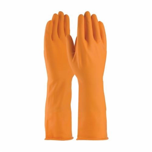 Assurance® 47210T Extra Long Chemical Resistant Gloves, Natural Rubber Latex, Orange, Unlined Lining, 13 in L, Resists: Acid, Alcohol, Alkaline, Caustic, Grease, Ketone, Liquid, Salt and Tear, Unsupported Support, Beaded Rolled Cuff, 18 mil THK